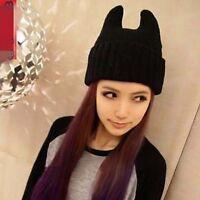Women Lady Warm Ski Knit Devil Horn Gothic Cat Pussy kitty ear Beanie Hat Cap
