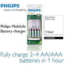 Philips MultiLife Cargador de pilas SCB5660NB 1 hora + 4 Pilas Recarg.AA 2700mAH