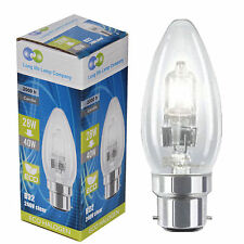Eco Halogen Candle 40W Energy Saving Light Bulbs B22 Bayonet Cap Pack Of 5 New