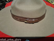 Leather Rcmp Style Hatband for Stetson Hat - Size 23 1/2