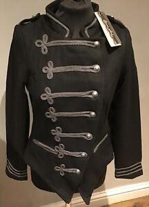 Brave Soul : Ladies Gothic/ Steampunk/ Military Jacket Blazer (size10)Black