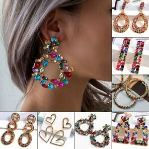 Luxury Big Colorful Crystal Earrings Women Statement Drop Dangle Jewelry Gifts