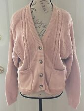 SAKS FIFTH AVENUE VINTAGE PINK KNIT CARDIGAN SWEATER WOMENS SIZE LARGE EUVC