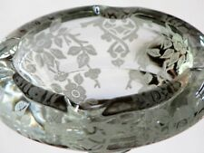 Cambridge Glass APPLE BLOSSOM Etch Cigarette Ash Tray with Aurora Stem
