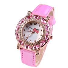 Kids Girls Children Quartz Hello Cat Wrist Watch with Crystal Rhinestone Gift