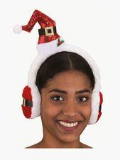 Mini Santa Hat With Earmuffs Headpiece Christmas Holiday Costume Accessory