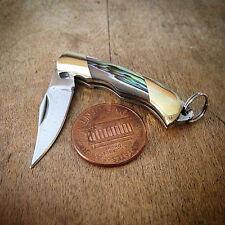 "SALE Mini Folding Pocket Knife Charm 1 1/2"" Steel ABALONE Handle Vintage Style"