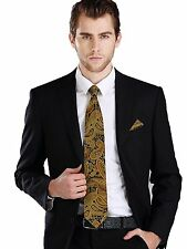 Landisun 651 Gold Black Paisley Mens Silk Tie Set: Tie+Hanky+Cufflinks