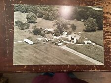 "Aerial View Farm Black & White Digital Photograph Mounted On Board 24"" by 16"" E"