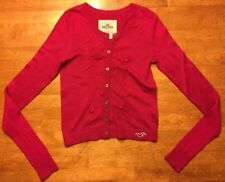 Hollister Women's Pink Long Sleeve Cardigan Sweater Bow Details - Size: XS