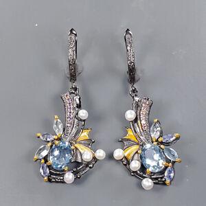 Vintage SET Blue Topaz Earrings Silver 925 Sterling   /E57926