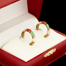Antique Vintage Deco 14k Yellow Gold Chinese Multi Colored Jadeite Jade Earrings