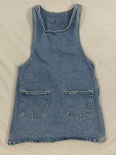 90s Vintage VTG Girls Guess Jeans Denim Jumper Size 7 Light Wash, Triangle Logo
