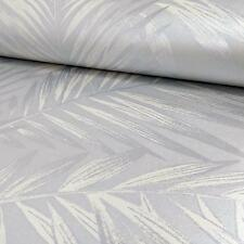 Platinum & Off White Trailing Palm Leaves Wallpaper - 10m roll - NEW!