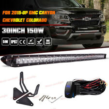 "150W 30"" LED Light Bar w/ Mount Bracket Wiring For 15+ GMC Canyon Chevy Colorado"