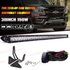 "30"" Center Bumper LED Light Bar +Mount Bracket For 15+ GMC Canyon Chevy Colorado"
