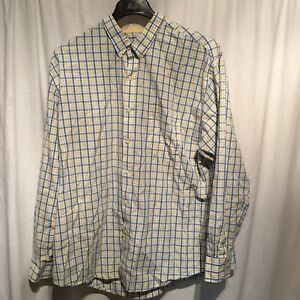 IZOD Mens Blue/Yellow/White Plaid Long Sleeve Button Down Shirt SZ XXL/TTG/XXG