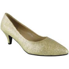 Womens Glitter Court Shoes Mid Heel Party Bridesmaid Wedding Bride Ladies Size Gold UK 7 / EU 40 / US 9
