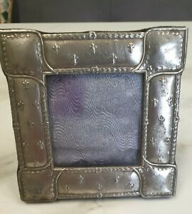 antique silver colour metal fleur de lis decorated picture photo frame