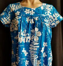 Ui-Maikai VTG muumuu Muu Muu HAWAIIAN DRESS Womens Med. Blue and White