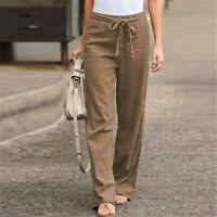 Women Linen Long Palazzo Fashion Wide Leg Pants Straight Trouser Loose Pantalon