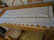 ANTIQUE / VINTAGE  IRISH LINEN CREDENZA  - DRAWER RUNNER - HAND CROCHET LACE