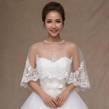 Bridal Embroidered Lace Appliques Shrug Shawl Wrap Stole White Jacket Coat