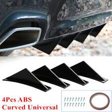 4x Car Rear Bumper Spoiler Curved Shark Fin Lip Diffuser Protector Universal