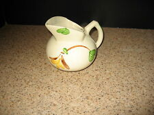 Vintage Ivory Pitcher Art Pottery Unmarked w/ Leaves & A FlowerV GUC