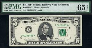 1969* $5 Richmond STAR Federal Reserve FRN • PMG 65 EPQ • 1969-E* Only 14 Graded