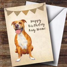 Vintage Arpillera Empavesado Perro Pitbull Personalizado De Cumpleaños Tarjeta