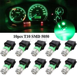 10x Green T10 SMD 194 LED Bulbs for Instrument Gauge Cluster Dash Light Socket