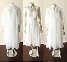 Layered Chiffon Vintage Pegnoir Wedding Tiered Robe Nightgown Lingerie White XS