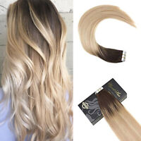 Ugeat 20pcs Balayage Tape in Human Hair Extensions Remy Hair Blonde Ombre 50gr