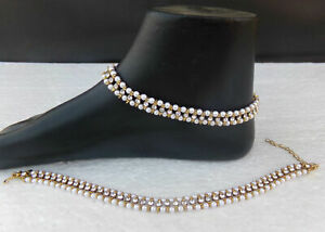 PAIR OF NEW PEARL GOLDEN STUNNING PAYAL ANKLET KUNDAN INDIAN BOLLYWOOD ANKLE M-8