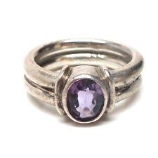 Navajo Handmade Sterling Silver Amethyst Ring Size 9