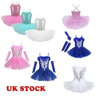 UK Kids Girls Sequined Ballet Leotard Dress Ballerina Gym Tutu Skirts Dancewear