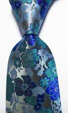 New Classic Floral Blue Gray Silver JACQUARD WOVEN 100% Silk Men's Tie Necktie