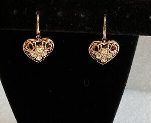 Genuine Swarovski Gold Tone Crystal Heart  Earrings For Pierced Ears