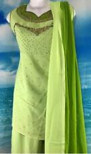 "Lime Green Salwar Kameez 39"" Bust Punjabi Indian Sari Pant Suit 3pc"