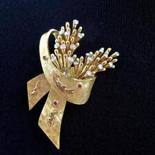 Vintage Italian 18K Gold Diamond Ruby 'En Tremblant' Floral Spray & Bow Brooch