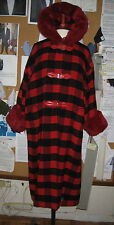 VINTAGE GENNY RED/BLACK PLAID HOODED COAT FAUX FUR TRIM ON HOOD AND CUFFS