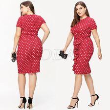 Womens Plus Size Dress Frill Ruffles Polka Dot Evening Party Ball Pencil Dresses