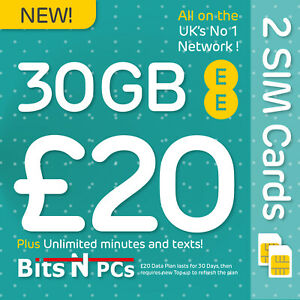 2 X EE PAY AS YOU GO SIM CARD - £20 30 DAY PACK