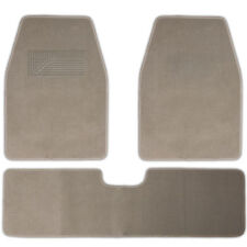 Car Floor Mats for Auto 3pc Carpet Semi Custom Fit Heavy Duty w/Heel Pad Beige