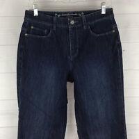 Christopher & Banks Womens Sz 4 Short Stretch Blue Dark Wash High Straight Jeans