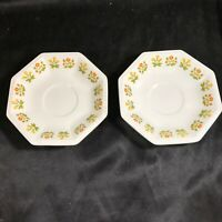 Pair of Vintage JOHNSON BROS IRONSTONE POSY Octagon Saucers