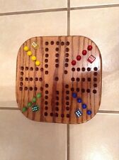 """13 """" WALNUT STAINED TRAVEL WOODEN OAK AGGRAVATION MARBLE GAME BOARD 4-PLAYER NEW"""