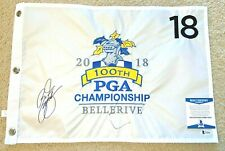RICKIE FOWLER SIGNED 2018 100TH PGA CHAMPIONSHIP FLAG BELLERIVE BAS