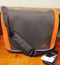 NEW NAUTICA GRAY ORANGE GREY STARBOARD MESSENGER BAG BUSINESS BAG CASES $180